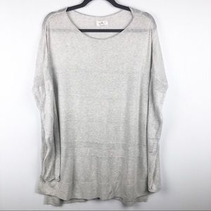 Lou & Grey Lightweight Gray Varied Knit Sweater